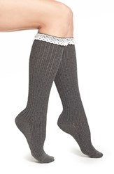 Women's Kensie Pointelle Detail Ruffle Knee High Socks Charcoal Heather