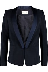Sandro Violene Satin Trimmed Canvas Blazer Blue