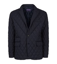 Ralph Lauren Diamond Quilted Elbow Patch Jacket Male Navy