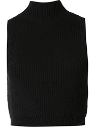 Zac Posen 'Liv' Cropped Tank Top Black