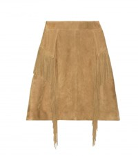 Saint Laurent Fringed Suede Miniskirt Brown
