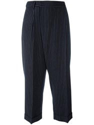 Alberto Biani Pinstriped Tapered Trousers Blue