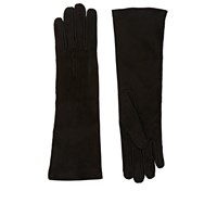 Barneys New York Whipstitched Suede Gloves Black