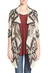 Junior Women's Sun And Shadow Drape Front Blanket Cardigan Tan Nantucket