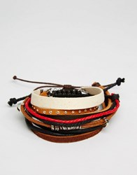 Asos Faux Leather And Cord Bracelet Pack In Brown Multi