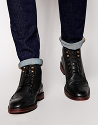 H By Hudson Harland Brogue Boots Black