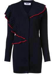 Msgm Ribbed Ruffle Cardigan Blue