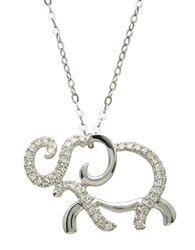Lord And Taylor 14Kt. White Gold And Diamond Elephant Pendant Necklace