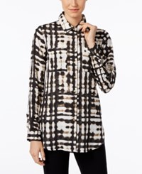 Calvin Klein Tab Sleeve Printed Tunic Black Matrix