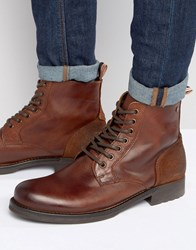 Jack And Jones Sting Leather Boots Brown