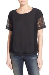 Women's Gibson Lace Inset Short Sleeve Top Black