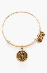 Women's Alex And Ani 'Initial' Adjustable Wire Bangle K Russian Gold
