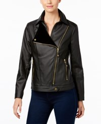Inc International Concepts Faux Leather Moto Jacket Only At Macy's Deep Black