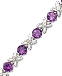 Macy's Sterling Silver Bracelet Amethyst 6 1 4 Ct. T.W. And Diamond Accent