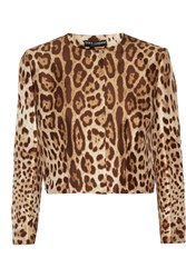 Dolce And Gabbana Cropped Leopard Print Silk Jacket Animal Print
