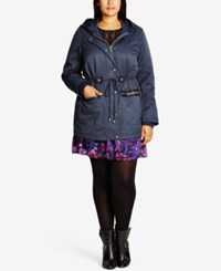 City Chic Trendy Plus Size Faux Fur Trim Parka Slate