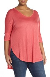 Plus Size Women's Two By Vince Camuto Scoop Neck High Low Tunic Guava Fruit
