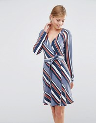 Vila Diagonal Stripe Wrap Dress Folkstone Gray Combo Multi