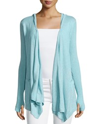 Minnie Rose Cotton Hooded Open Front Duster Cardigan Aqua Blue