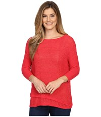 Calvin Klein Jeans 5Gg Tape Yarn Texture Crew Watermelon Sorbet Women's Sweater Red