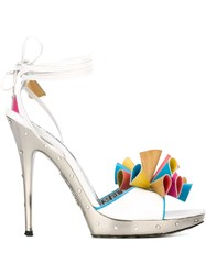 Emilio Pucci Vintage Floral Applique Sandals White