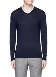 Threadsmith 'Newman' V Neck Ultrafine Merino Wool Sweater Blue