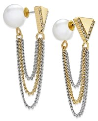 Abs By Allen Schwartz Two Tone Imitation Pearl And Chain Front And Back Earrings Gold