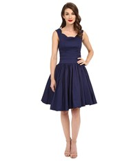 Unique Vintage Roman Holiday Retro Flare Dress Navy Women's Dress