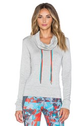 Pink Lotus Ready To Go Shirred Back Hoodie Gray