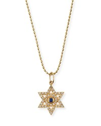 Sydney Evan Diamond And Sapphire Star Of David Necklace Size 16' Yellow Gold