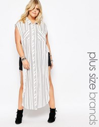 Alice And You Stripe Sleeveless Shirt Dress Multi