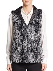 Hooded Faux Fur Vest Black