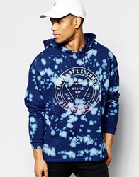 Asos Overhead Hoodie With Tie Dye And Circle Print Blue