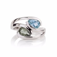 Manja Green Amethyst And Blue Topaz Love Birds Ring Blue Green Silver
