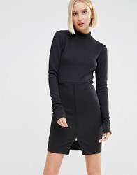 Cheap Monday High Neck Dress With Front Zip Black