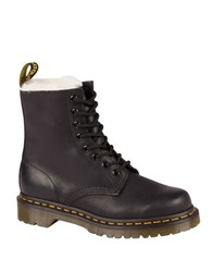 Dr. Martens Serene Leather And Faux Fur Lace Up Booties Black