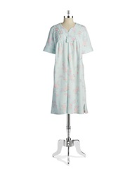 Miss Elaine Textured Floral Nightgown Pink On Aqua