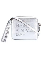 Anya Hindmarch Have A Nice Day Leather Bag Silver