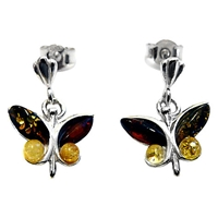 Goldmajor Amber And Sterling Silver Butterfly Earrings Multi