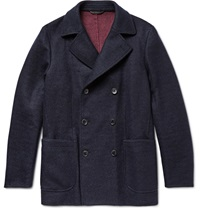 Loro Piana Suede Trimmed Double Faced Woven Cashmere Peacoat Blue