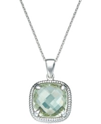 Macy's Green Amethyst Twist Pendant Necklace In Sterling Silver 12 Ct. T.W.