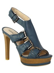 Betsy Buckle Peep Toe High Heel Navy