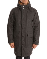 Hartford 2 In 1 Grey Wool Parka With Removable Quilted Lining