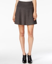 Kensie Herringbone A Line Skirt Heather Dark Grey Combo