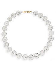 Kenneth Jay Lane Carved Clear Bead Necklace Clear Gold
