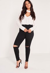 Missguided Plus Size Super Stretch High Waisted Ripped Skinny Jeans Black Black