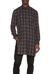 Robert Geller Long Checkered Shirt In Gray Checkered And Plaid