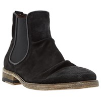 Bertie Chingy Washed Suede Chelsea Boots Black