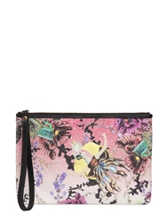 Mary Katrantzou Printed Glittered Cotton Pouch Pink Multi