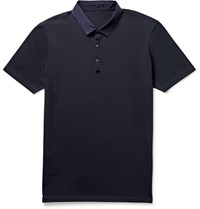 Lanvin Slim Fit Grosgrain Trimmed Cotton Pique Polo Shirt Blue